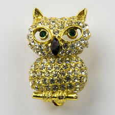 Rhinestone Figural Owl Brooch Sitting on Branch Green Eyes Gold Tone Pin Vintage