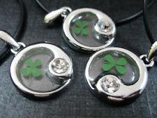 3pcs Real green Four Leaf Clover Taiji yin yang design white stone pendants