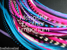 Feather hair extensions white purple pink aqua Grizzly solid rooster beads incl