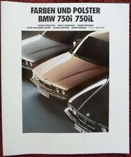 BMW 750i & 750iL 1990 1991 Large Euro Markets Colours & Upholstery brochure