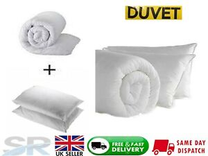 Luxury Duvet/Quilt And 2 Pillows Single Double King 10.5,13.5, 15 TOG