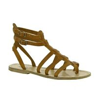 Italian strappy gladiator sandals shoes for women handmade in tan soft leather