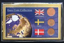 EURO COIN COLLECTION UK SWEDEN DENMARK 3 COIN SET IN ORIGINAL PACKAGING