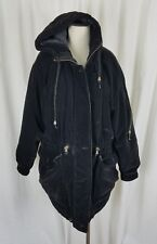 90s Current Seen Black Velvet Hooded Full Zip Up Quilted Jacket Parka Womens M
