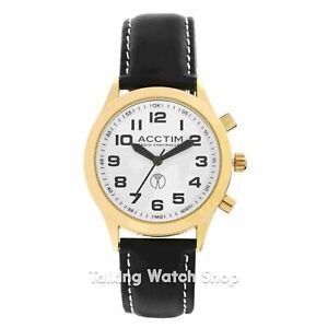 Acctim Men's Radio Controlled Easy to See Watch with Leather Strap, Black