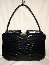 Auth. Vintage Black Lopez Genuine Caiman Alligator Skin Satchel Purse Handbag