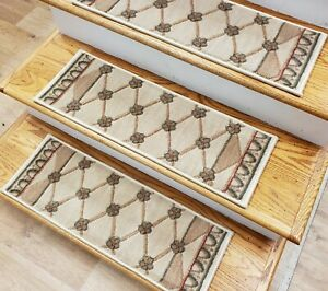 "Ivory Trellis Stair Tread Set of 17 Non Slip Carpet Treads 27"" x 9"" Rug Depot"