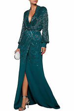 NWT Roberto Cavalli Plunging Neckline Embellished  Wrap Gown 40/4  $7999