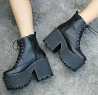 Womens Gothic Punk Round Toe High Chunky Heels Platform Ankle Riding Boots E799