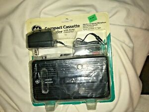 NEW Vintage GE Compact Cassette Recorder With Adaptor, also uses 4 AA Batteries