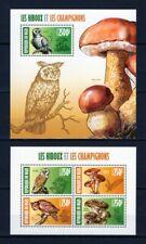 NIGER 2013 LES HIBOUX ET LES CHAMPIGNONS OWLS MUSHROOMS FLORA PLANTS STAMPS MNH