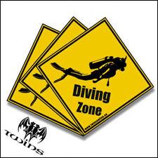 Set 3 adesivi Diving Zone Sub Immersioni Scuba adesivo 10cmx10cm gav bombole