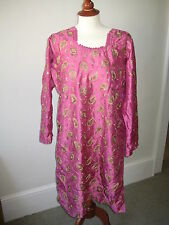 Indian long sleeved pink silk tunic top with gold embroidery, S/M