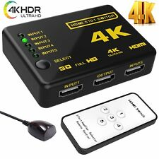HDMI Splitter Switch Adapter 5 Port Umschalter Verteiler 4K Ultra HD HDCP 3D HDR