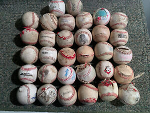 Huge Lot Of (32) Terrible Condition Beat Up Used Baseballs For Arts And Crafts