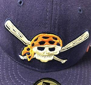 Pittsburgh Pirates MLB New Era Fitted Hat Blue & Orange Size 7 3/4 🔥 ☠️ 🔥