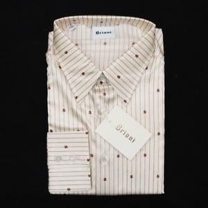 NWT Men's BRIONI Ivory Gold Dollar Bill Sign Silk L/S Button Up Dress Shirt XL