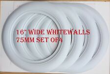 """16"""" Wheel whitewalls Wide Style 75mm 3 inch 4pc Hot rod Rat Rod Ford Chevy Mopar"""