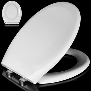 Heavy Duty Toilet Seat Soft Close White Oval Shape Quick Release Fixing Hinges