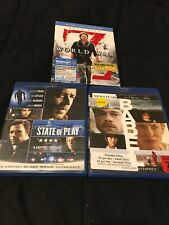 World War Z/State Of Play/Babel (3-Blu-ray Movies) Brad Pitt-Very Good