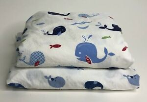 Lot of 2 Fitted Crib Sheets Nautical Whales Nautica & Pottery Barn Kids Hamptons