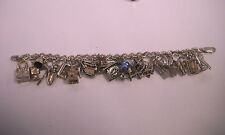 "Vintage Sterling Silver Charm household items Bracelet 7 1/2 ""+ bonus"