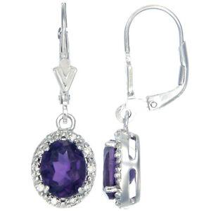 Sterling Silver Amethyst Dangle Earrings (2.40 CT)
