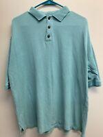 Tommy Bahama Men's Turquoise Blue Short Sleeve Polo Shirt M Silk Cotton Blend