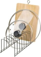 Kitchen Pan and Pot Lid Organizer Rack for Trays, Total 8 Compartments, Nickel