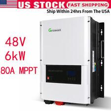 48V 6Kw Growatt 120V/240Vac Split Phase Solar Inverter 80A Mppt Charger Device U