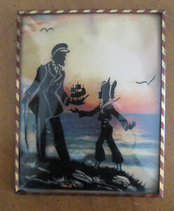 vintage framed SILHOUETTE Boy Ship Seashore CONVEX GLASS Reverse Painted