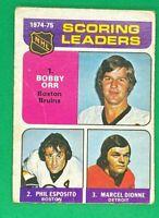 Bobby Orr Esposito Dionne 1975-76 O-Pee-Chee #210 Scoring Leaders NHL