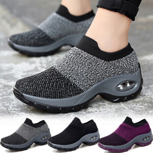 Womens Increase Gym Shoes Walking Sports Athletic Breathable Casual Shoes