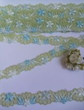 """3/4"""" Lime Green / Lt. Blue Embroidered Flower Net Lace Trim - 2 Yards (T289)"""