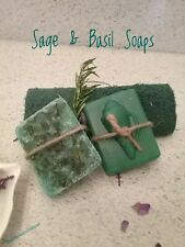 Sage soap, Sage and Basil Herbal Soap, Handmade Essential Oil, Seashell Soap