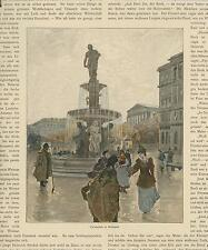 ANTIQUE BUDAPEST CITY WATER FOUNTAIN VICTORIAN WOMAN MEN ARCHITECTURE OLD PRINT