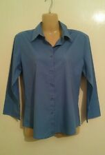 UK ladies M 12 BEN SHERMAN blue shirt 3/4 sleeve summer holiday button up