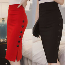 Womens Trousers Plain Bodycon Pencil High Waist Cotton Stretch Midi Black Skirt