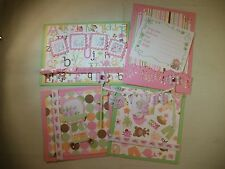 BABY GIRL PAPER PIECING PREMADE SCRAPBOOK PAGE MAT SET