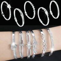 Fashion Crystal Rhinestone Love Bangle Cuff Charm Bracelet Family Jewellery Gift