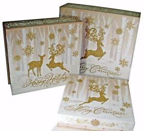 3 Punch Studio Rectangle Flip Top Nesting Boxes Merry Christmas Deer 11562