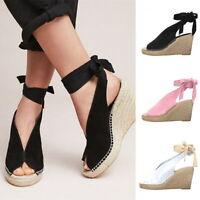Summer Women's  Peep Toe Hemp Rope Buckle Strap Bohemia Sandal Beach Shoes