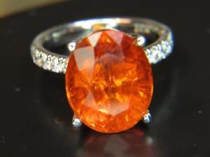 15.68CT RED ORANGE MANDARIN SPESSARTITE GARNET & .51 CTW DIAMOND PLATINUM RING