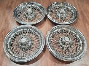 """Set of 4 OEM 1986-1996 Chevy Caprice Classic 15"""" Wire Spoke Hubcaps Wheel Covers"""