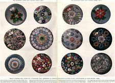 19th Century Paper Weights MILLE FLEURS Baccarat FLOWERS 1949 Magazine Pages