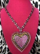 Tarina Tarantino HUGE Big Love 70's Vitrail Heart Swarovski Crystal Necklace