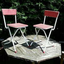 2 vintage fold up camping chairs VW classic camper 50s 60s original retro kitsch