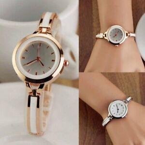Women's Quartz Wristwatch Alloy Bangle Style Ladies Bracelet Wrist Watch Golden