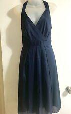 THEORY Sz 10 Navy Kima Lawn Cotton Pleated V Neck Sleeveless Dress