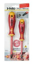 Felo 2pcs Electricians Screwdriver Set Plus Minus Ac1000v Made In Germany